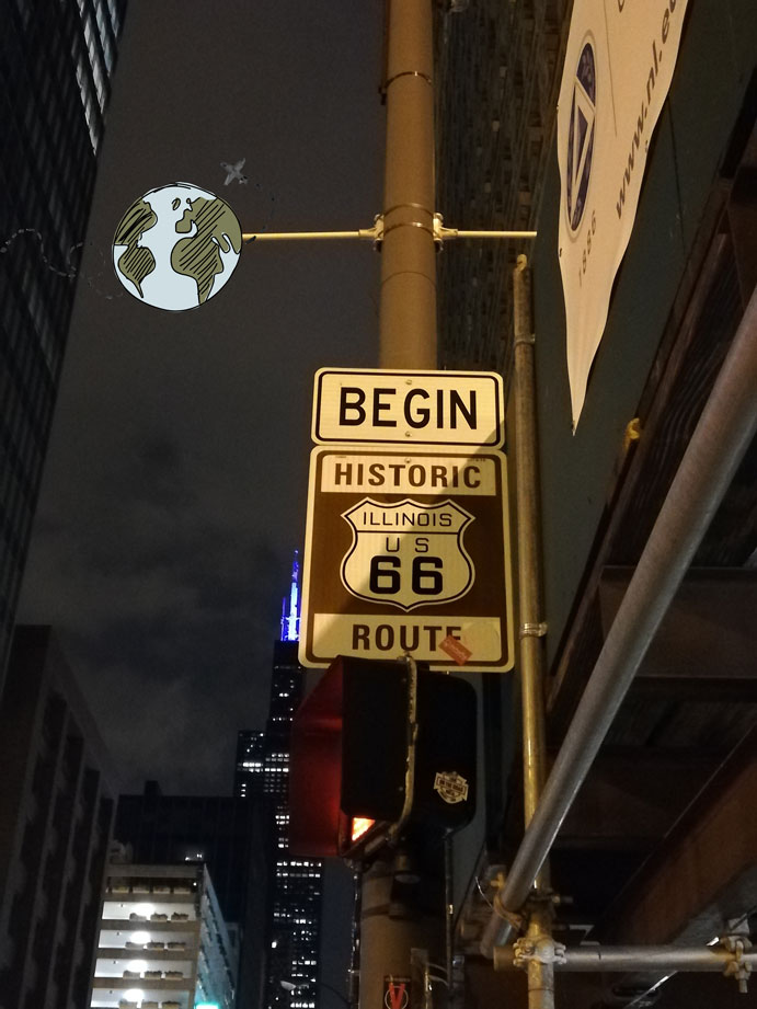Begin Sign Route 66 Chicago