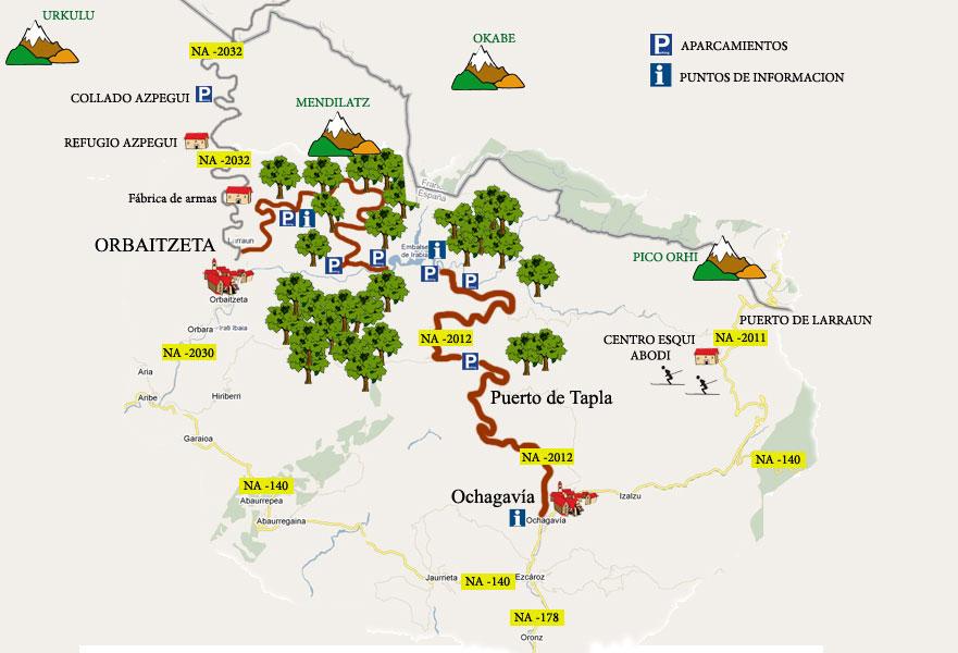Mapa de la Selva de Irati